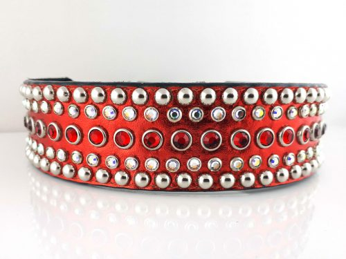 Dog collar Diva in red metallic Italian leather with siam and AB Swarovski crystals