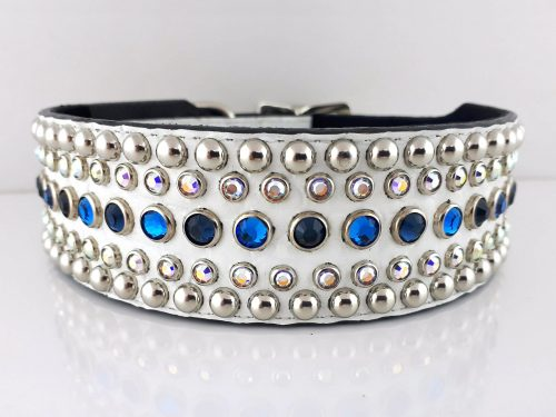 Dog collar Diva in white Italian crocko leather with bermuda blue, montana and AB Swarovski crystals