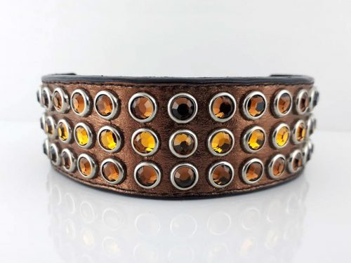 Dog collar Mucho in bronze Italian leather with smoke and topaz Swarovski crystals