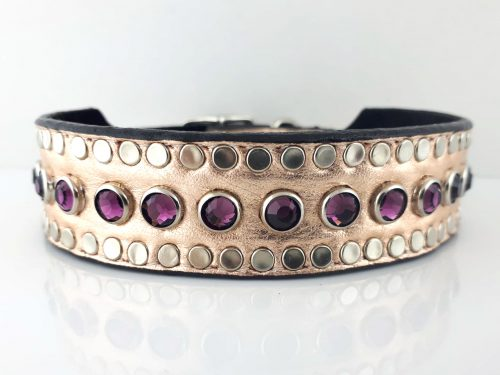 Dog collar Tiny Micro Diva in pink metallic Italian leather with amethyst Swarovski crystals