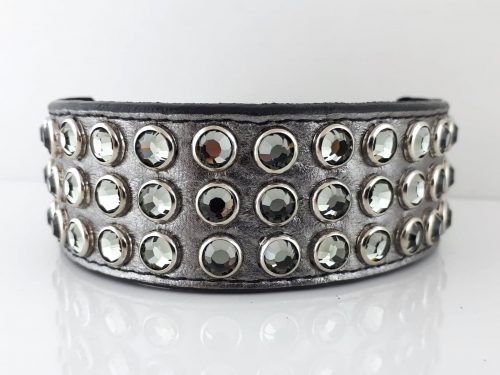 Dog collar Mucho in pewter metallic Italian leather with black diamond Swarovski crystals