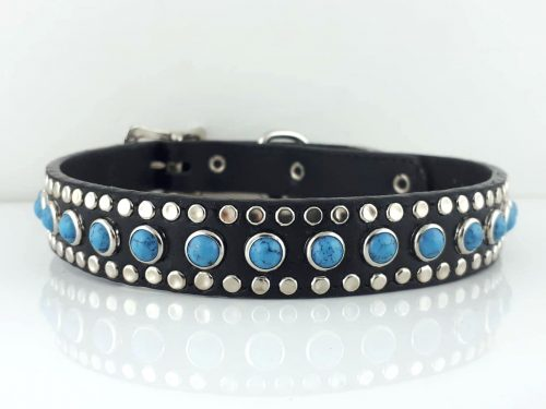 Dog collar All Turquoise black leather with a southwestern flare