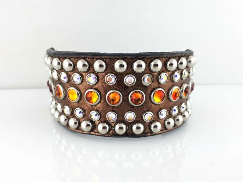 Dog collar Diva in bronze metallic Italian leather with fire opal and AB Swarovski crystals
