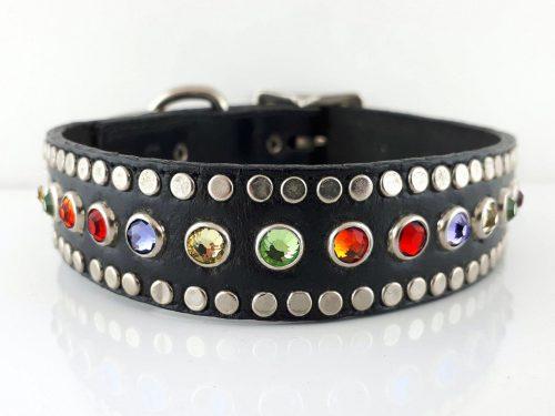 Dog collar All Swarovski in black Italian leather with rainbow Swarovski crystals