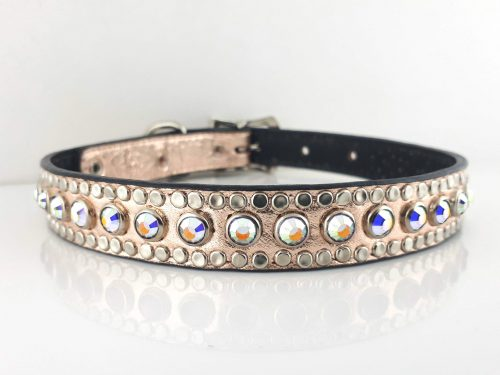 Dog collar All Swarovski in pink metallic Italian leather with AB Swarovski crystals