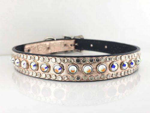 Dog collar All Swarovski in pink metallic Italian leather with AB Swarovski crystals