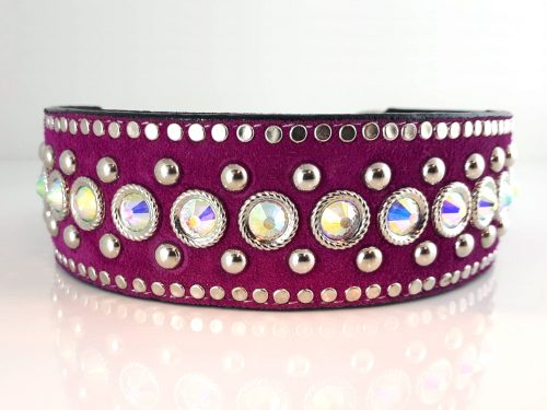 Dog collar Dog collar Crystal Monster in Italian leather and hot pink suede with AB Swarovski crystals