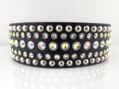 Dog collar Diva black leather with Swarovski crystals