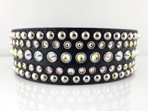 Dog collar Diva black leather with Swarovski crystals