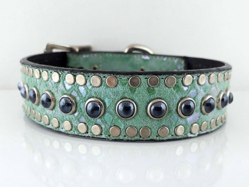 Dog collar All Pearl in Italian leather and aquamarine suede with black pearls