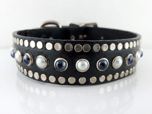 Dog collar All Pearl in black Italian leather with white and black pearls