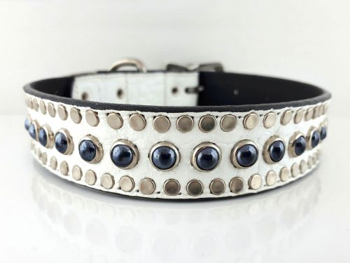 Dog Collar All Pearl in white Italian crocko leather with black pearls