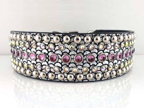 Dog collar Diva in shiny Italian leather with rose and AB Swarovski crystals
