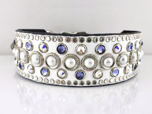 Dog collar Princess Pearl in white Italian crocko leather with pearls, velvet & AB Swarovski crystals