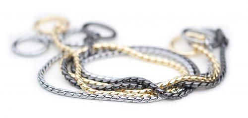 Snake chain dog silver gold black