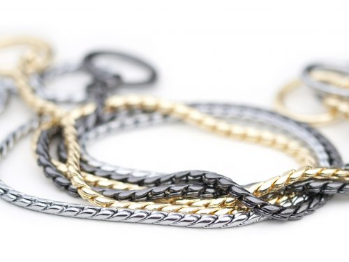 Snake chain dog silver gold black