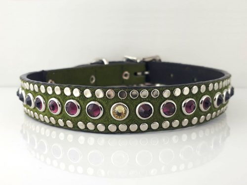 Dog collar All Swarovski in green suede and Italian leather with fire opal & jonquil Swarovski crystals