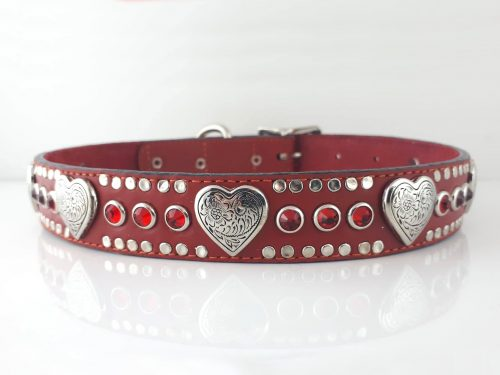 Dog collar Heart & Crystal in red Italian leather with siam Swarovski crystals