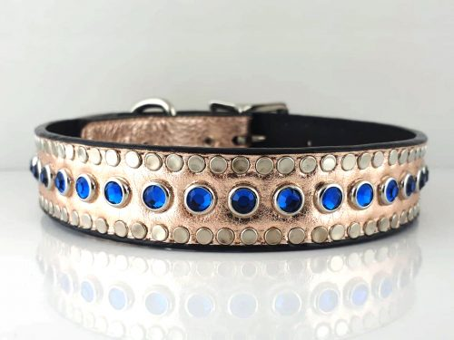 Dog Collar All Swarovski in pink metallic Italian leather with Bermuda Blue Swarovski crystals