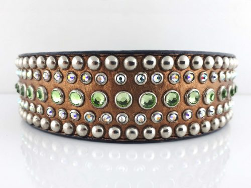 Dog collar Diva in bronze metallic Italian leather with peridot and AB Swarovski crystals