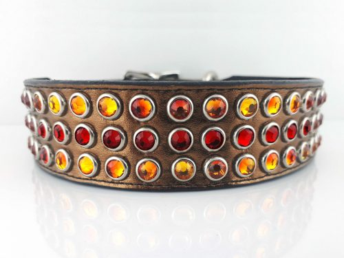 Dog collar Mucho in bronze metallic Italian leather with fire opal and siam Swarovski crystals