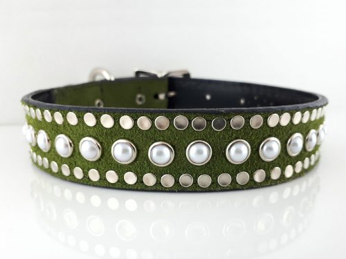 Dog collar All Pearl in Italian leather and green suede with white pearls
