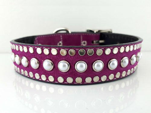 Dog collar All Pearl in Italian leather and hot pink suede with white pearls