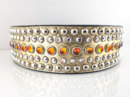 Dog collar Diva in gold metallic Italian leather with fire opal and AB Swarovski crystals