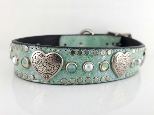 Dog collar Heart, Pearl & Crystal in Italian leather and aquamarine suede with sea foam Swarovski crystals and white pearls