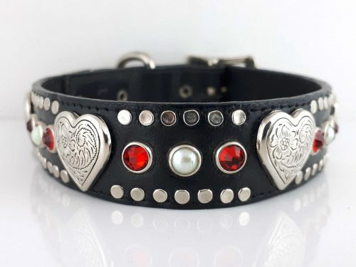 Dog collar Heart, Pearl & Crystal in black Italian leather with siam Swarovski crystals and white pearls