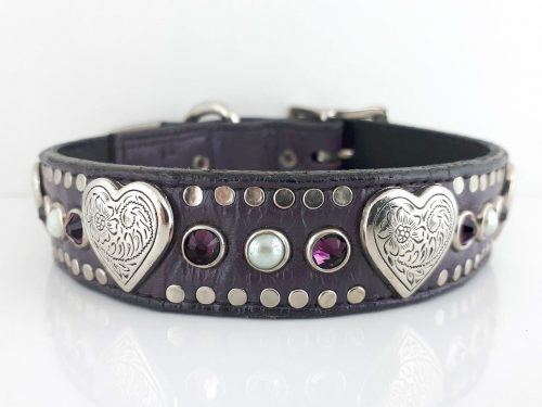Dog collar Heart, Pearl & Crystal in eggplant Italian leather with amethyst Swarovski crystals and white pearls