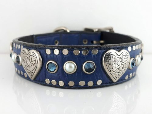 Dog collar Heart, Pearl & Crystal in indigo Italian leather with Montana blue Swarovski crystals and white pearls