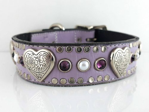 Dog collar Heart, Pearl & Crystal in lavender Italian leather with amethyst Swarovski crystals and white pearls