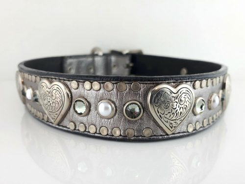 Dog collar Heart, Pearl & Crystal in pewter metallic Italian leather with greige Swarovski crystals and white pearls