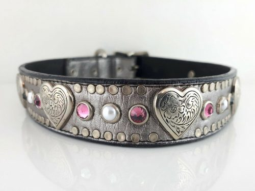 Dog collar Heart, Pearl & Crystal in pewter metallic Italian leather with rose Swarovski crystals and white pearls