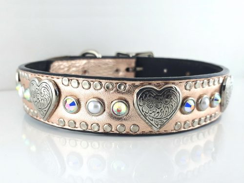 Dog collar Heart, Pearl & Crystal in pink metallic Italian leather with AB Swarovski crystals and white pearls