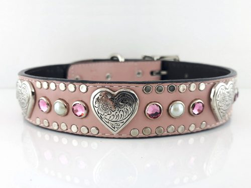 Dog collar Heart, Pearl & Crystal in pink Italian leather with rose Swarovski crystals and white pearls