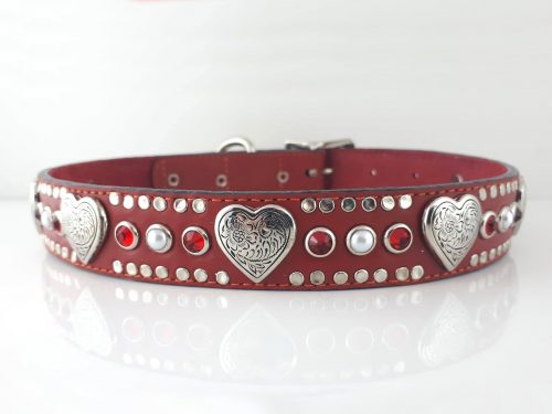 Dog collar Heart, Pearl & Crystal in red Italian leather with siam Swarovski crystals and white pearls