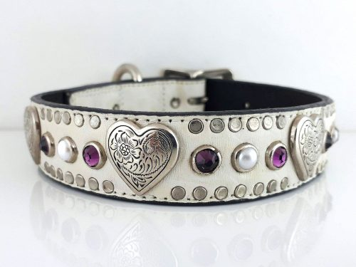 Dog collar Heart, Pearl & Crystal in white Italian crocko leather with amethyst Swarovski crystals and white pearls