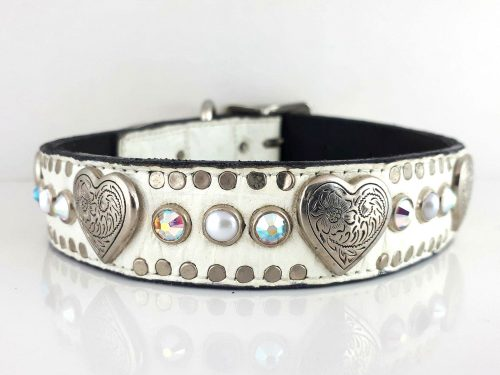 Dog collar Heart, Pearl & Crystal in white Italian crocko leather with AB Swarovski crystals and white pearls