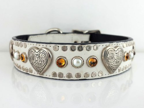 Dog collar Heart, Pearl & Crystal in white Italian crocko leather with topaz Swarovski crystals and white pearls