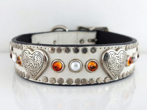 Dog collar Heart, Pearl & Crystal in white Italian crocko leather with fire opal Swarovski crystals and white pearls