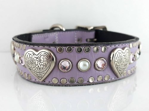 Dog collar Heart, Pearl & Crystal in lavender Italian leather with light amethyst Swarovski crystals and white pearls