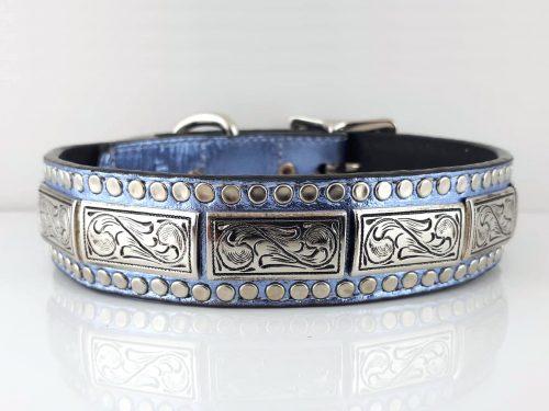 Dog collar K9 Square in blue metallic Italian leather