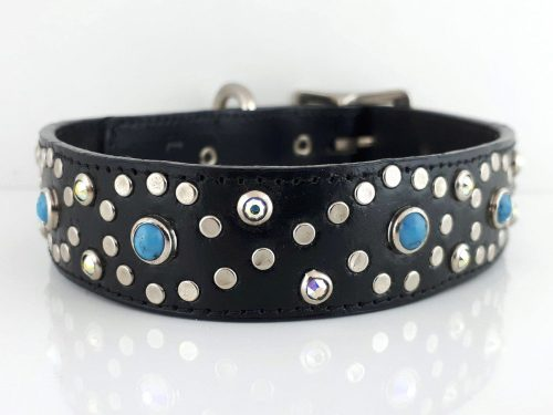 Dog collar Turquoise S in black Italian leather with blue turquoise