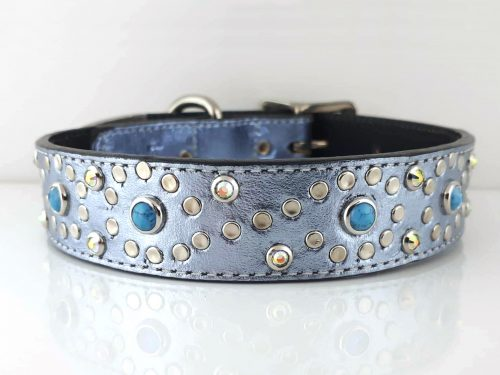 Dog collar Turquoise S in blue metallic Italian leather with blue turquoise