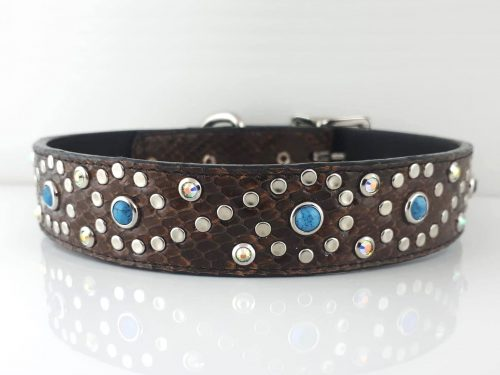 Dog collar Turquoise S in cognac Italian leather with blue turquoise
