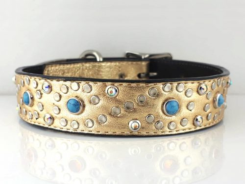 Dog collar Turquoise S in gold metallic Italian leather with blue turquoise
