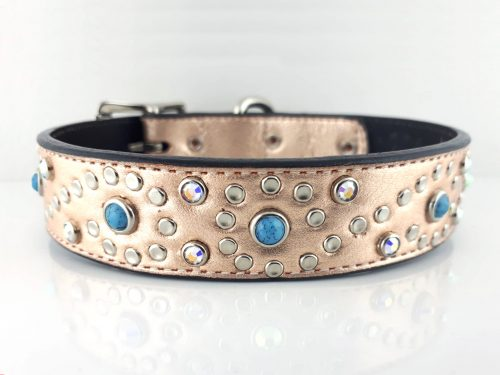 Dog collar Turquoise S in pink metallic Italian leather with blue turquoise