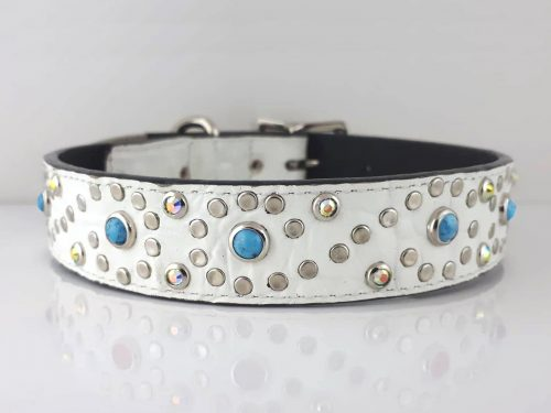 Dog collar Turquoise S in white Italian crocko leather with blue turquoise